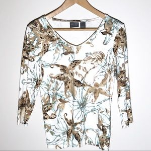 ADDITIONS BY CHICOS brown floral top SZ O